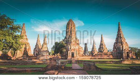 Landscape Ayutthaya Historical Park In Ayutthaya, Thailand. Vintage..