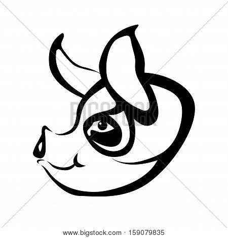 pig head vector illustration style Flat face