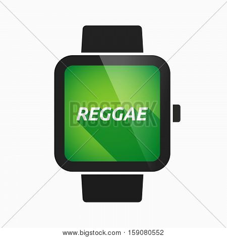 Isolated Smart Watch With    The Text Reggae
