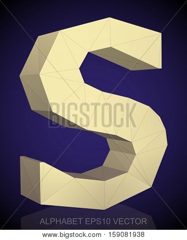 Abstract Yellow 3D polygonal uppercase letter S with reflection. Low poly alphabet collection. EPS 10 vector illustration.