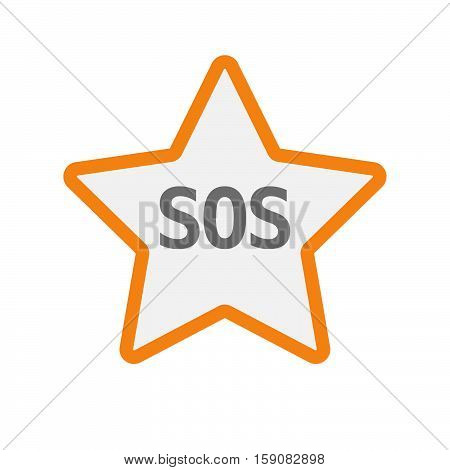 Isolated Star Icon With    The Text Sos