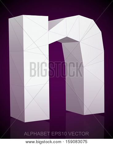 Abstract White 3D polygonal lowercase letter N with reflection. Low poly alphabet collection. EPS 10 vector illustration.