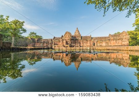 sand stone castle phanomrung in Buriram province Thailand. Religious buildings constructed by the ancient Khmer art Phanom rung national park in North East of Thailand