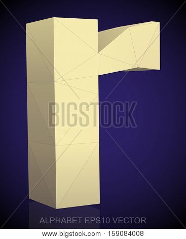 Abstract Yellow 3D polygonal lowercase letter R with reflection. Low poly alphabet collection. EPS 10 vector illustration.