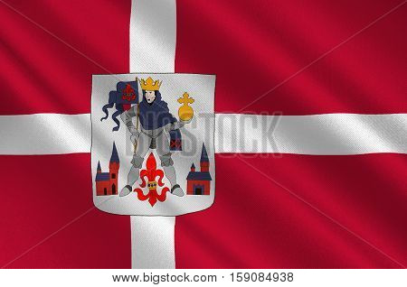 Flag of Odense is a municipality in Region Hovedstaden of Denmark. 3d illustration
