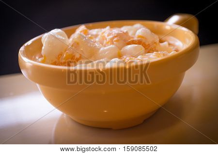 Creamy ambrosia salad with marshmallows pineapple and mandarin oranges