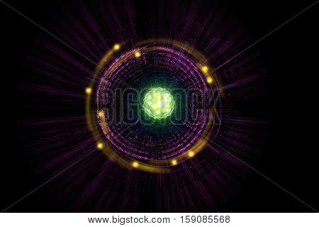 Close up of colorful neon atomic particle background 3D illustration