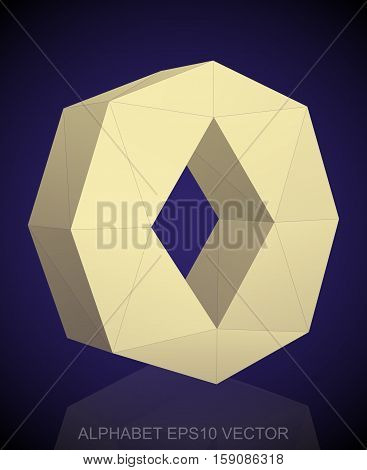 Abstract Yellow 3D polygonal lowercase letter O with reflection. Low poly alphabet collection. EPS 10 vector illustration.