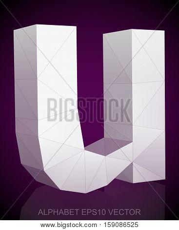 Abstract White 3D polygonal lowercase letter U with reflection. Low poly alphabet collection. EPS 10 vector illustration.