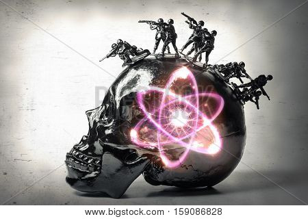Black skull with toy soldiers forming war mohawk with radioactive atomic particle