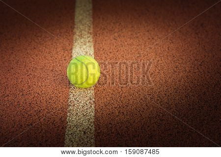 Close Up Of Tennis Ball On Clay Court./tennis Ball ,  Vintage