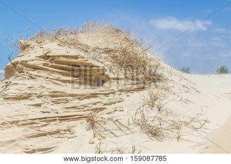 Sand Structure Done By Wind With Blue Sky In Background
