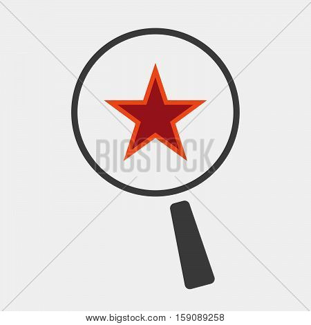 Isolated Magnifier With  The Red Star Of Communism Icon