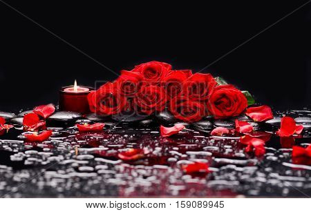 Set of Red bouquet rose with petals,candle and therapy stones