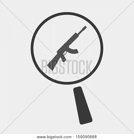 Isolated Magnifier With  A Machine Gun Sign