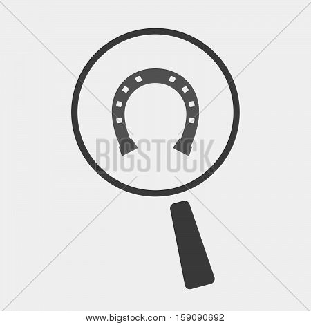 Isolated Magnifier With Bridle; Horseshoe; Luck; Talisman; Equestrian