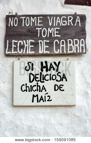 Signs In Guane, Colombia