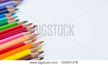 pencils color on white background pencils color group