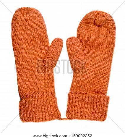 Mittens Isolated On White Background. Knitted Mittens. Mittens Top View.orange Mettens