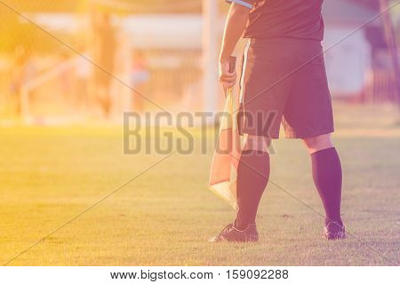 soccer or football assistant referee in stadium