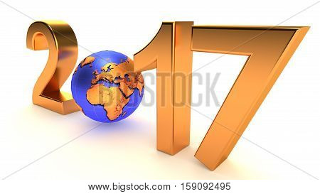 New Year 2017 Earth planet on the white background. 3d illustration.