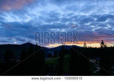 Fabulous sunset and the sky in the mountains