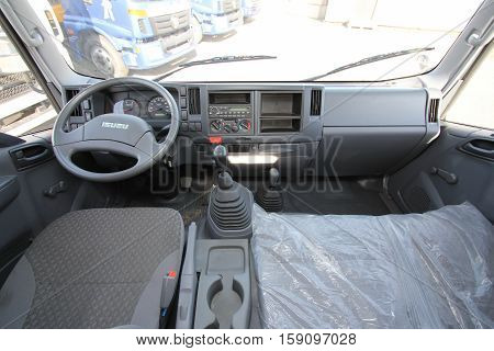 the interior of the truck cabin Isuzu inside - Russia Moscow 24 September 2016, at the construction site