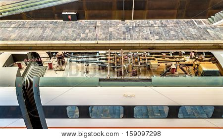 Roof equipment of a Siemens Velaro high-speed train at Zaragoza-Delicias station in Spain