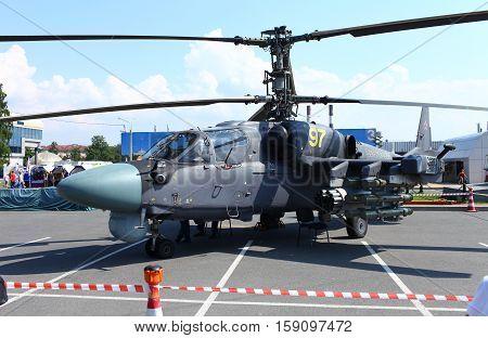 St. Petersburg Russia Jule 5 2013 Attack helicopters Ka-52 Alligator
