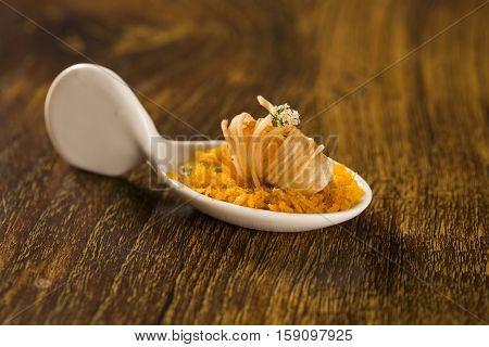 Crispy Shrimp With Piranha Pirão And Palm Tree Farofa In A Spoon. Taste Gastronomy Finger Food