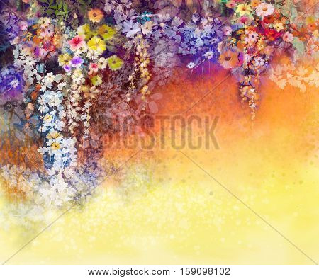 Abstract floral watercolor painting. Hand painted White Yellow and Red flowers in soft color on blue green color background. Ivy flowers in tree park. Spring flower seasonal nature background