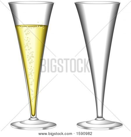 Glasses of sparkling wine one empty one filled. poster