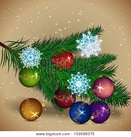 Christmas tree with colored balls and bright snowflakes. Merry Christmas and Happy New Year. Vector illustration.