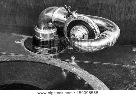 Vintage Gramophone Phonograph Closeup With Turntable and Needle VII