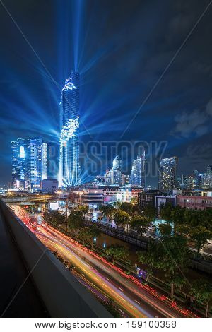 Modern building and condominium in city downtown with Mahanakorn building in Bangkok. Night of Light. The new highest building in Bangkok Thailand.