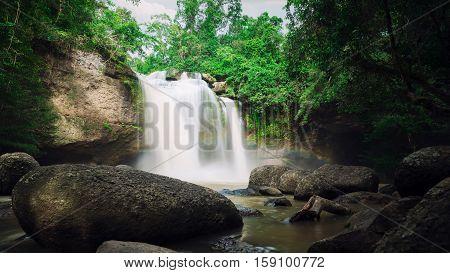 Waterfall cave Haewsuwat waterfall at Khao Yai National Park Thailand.