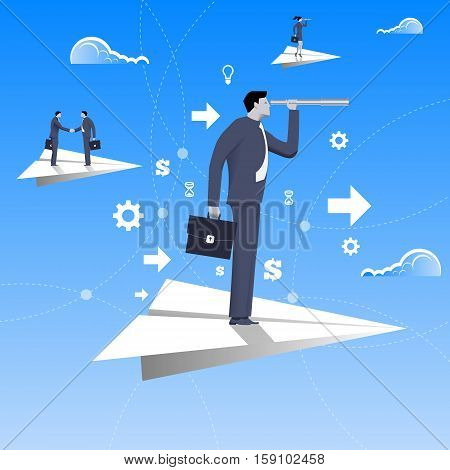 Flying on paper plane business concept. Confident businessman in business suit with case and looking glass flying on paper plane. Searching for opportunities looking for solution.