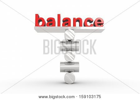 perfect balance text white background 3d illustration