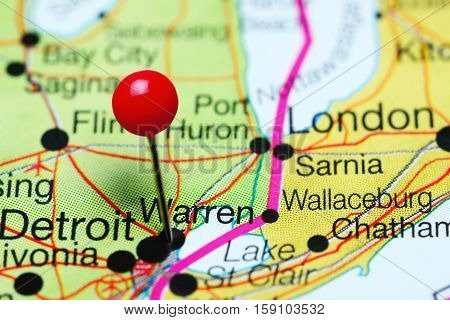 Warren pinned on a map of Michigan, USA