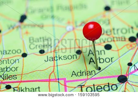 Adrian pinned on a map of Michigan, USA