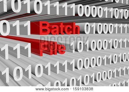 batch file in the form of binary code, 3D illustration
