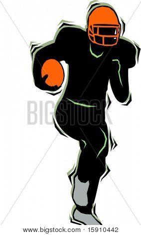 American football player.Pantone colors.Vector illustration