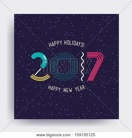 2017 New Year design, eye catching banner. Bright colorful vector illustrations for greeting card, posters, print, mobile phoned designs, ads, promotional material Yellow Pink Green Blue