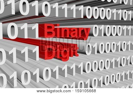 binary digit in a binary code 3D illustration