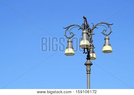 modern lamp street lighting with the blue sky background