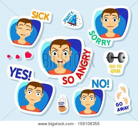 Collection of stickers for chat or sms. Stickers with man. Men with different facial expressions. cartoon funny stickers set. So angry No Yes sick Sorry Vector