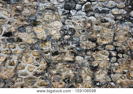 A Flint and Stone Wall Background Texture