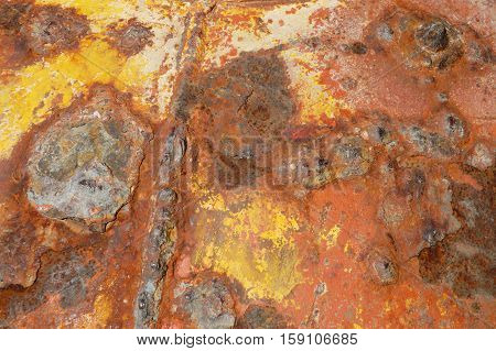 Brown orange and yellow rusty metal background texture