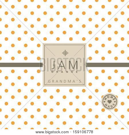 Orange jam label. Swatch pattern included.