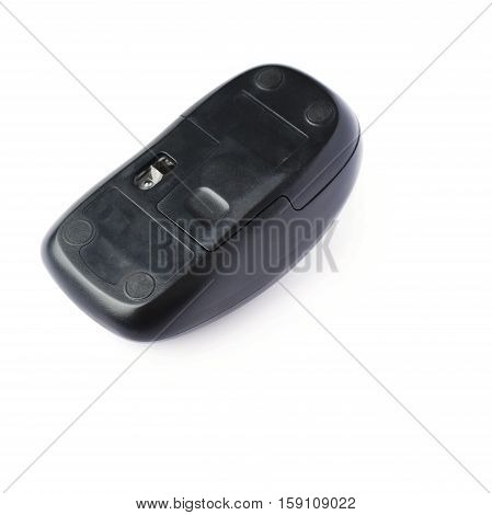 Wireless computer black mouse isolated over white background